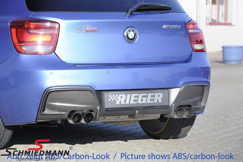 Trim panel original Rieger for M-tech rear bumper with double tailpipe both sides - To be painted