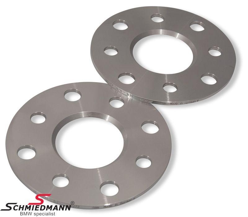 Hjulspacer alu sæt i alt 6MM pr. aksel (3MM pr. side/hjul) 5 huls uden centrering system 5 uden bolte
