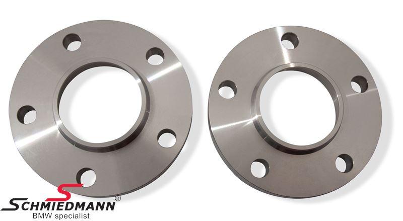 Hjulspacer alu sæt (nav 74,1MM), i alt 36MM pr. aksel (18MM pr. side/hjul) 5 huls med centrering system 2 uden bolte