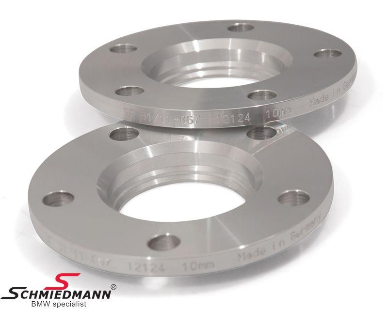 Hjulspacer alu sæt i alt 20MM pr. aksel (10MM pr. side/hjul) 5 huls med centrering system 2 uden bolte