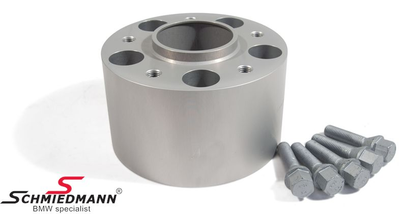 Hjulspacer sølv eloxceret alu sæt (nav 72,6MM) i alt 180MM pr. aksel (90MM pr. side/hjul) 5 huls med centrering system 4 med bolte