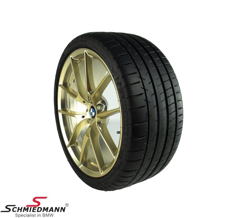 """20"""" komplet sommer hjulsæt M-Performance Y-speiche 763M Frozen Gold 8+9x20"""" fælge med 245/35R20+275/30R20 - original BMW"""