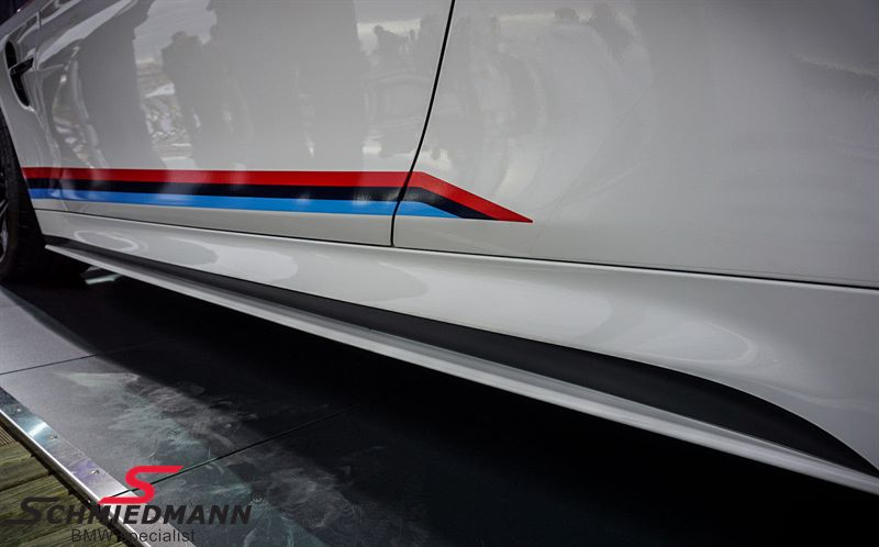 Sideskørte-påsats mat sort original BMW -M///Performance-, V.-side