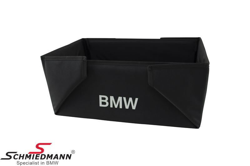 Praktisk BMW foldekasse til varer, sort med BMW logo