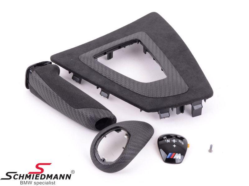Interiør kit carbon/alcantara -/// M-Performance- Gearknop afdækning, afdækning ved gearvælger og håndbremsegreb