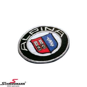 Stoff emblem rundt original Alpina 80MM til at sy på tøj/bundmåtter mv.