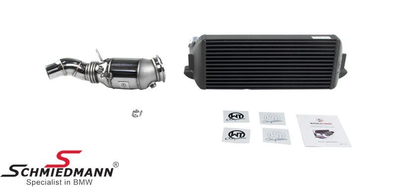 Wagner Tuning Germany Competition-Package EVO2 til N20 motorer, bestående af en highflow downpipe med 200cells kat. + en upgrade intercooler
