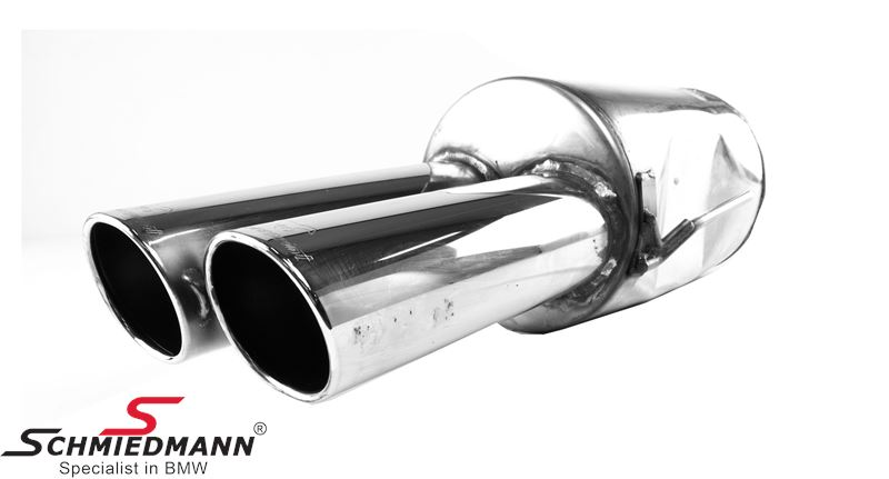 Supersprint sport rear silencer oval tips 2XØ90X85MM R-side