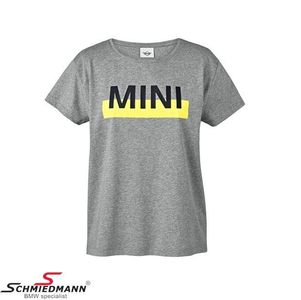 MINI wordmark color block t-shirt grå/lemon, dame str. XL