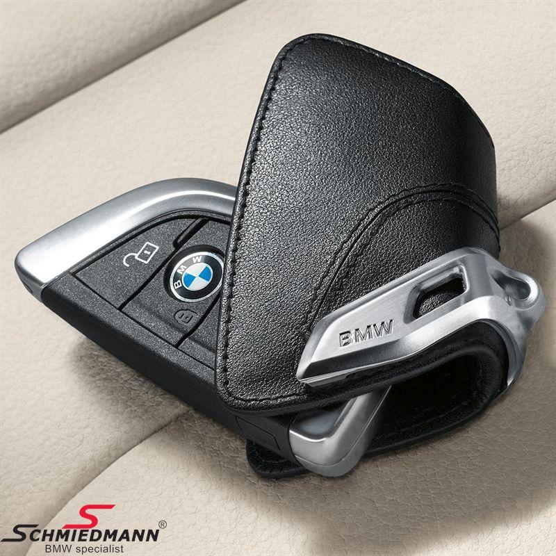 Nøgle etui, Luxury black med rustfri stål-clips - original BMW