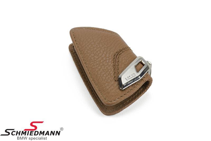 Nøgle etui, sattelbraun med rustfri stål-clips - original BMW