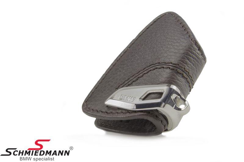 Nøgle etui, mokka med rustfri stål-clips - original BMW