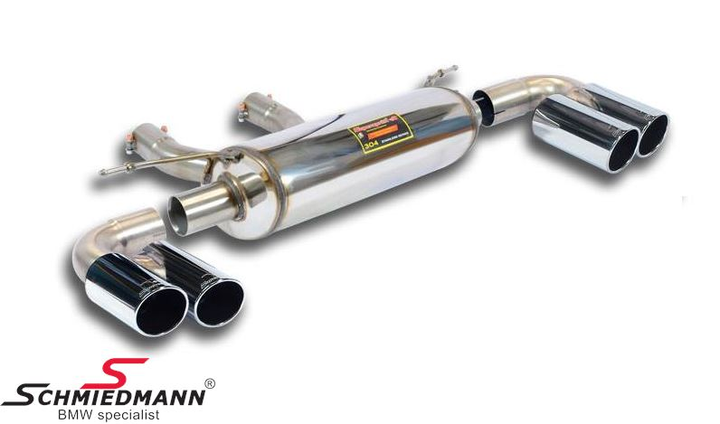 Supersprint sport rear silencer -Twin Pipe Design- without valve, chrome tailpipes 4x80MM round