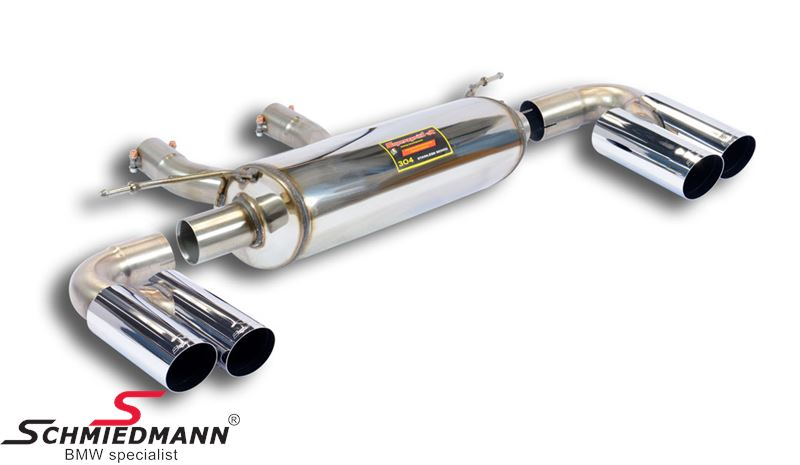 Supersprint sport rear silencer -Twin Pipe Design- without valve, 'Race' tailpipes 4x80MM round
