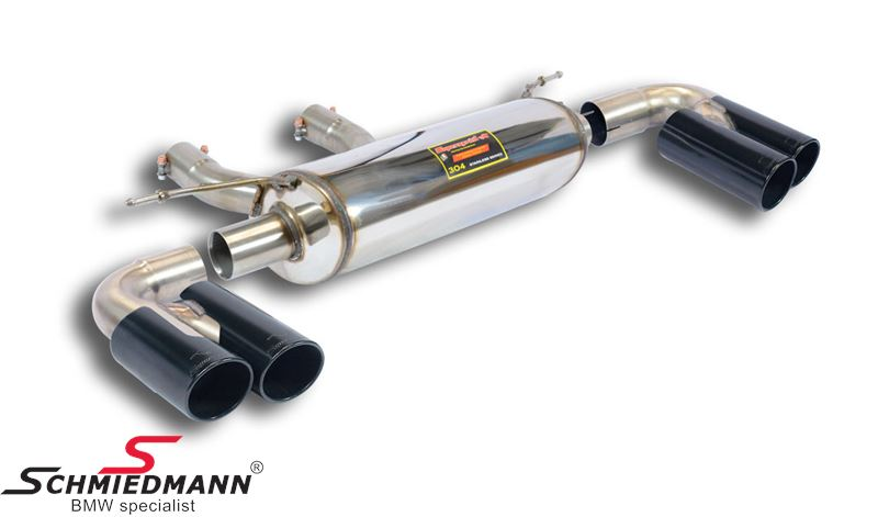 Supersprint sport rear silencer -Twin Pipe Design- without valve, black tailpipes 4x80MM round