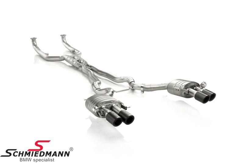Akrapovic EVO komplet letvægts ægte titanium sports-udstødnings-system fra katalysatorerne og bagud/(cat back) X-rør/sportsbagpotter med 4XØ100MM sorte carbon rørhaler