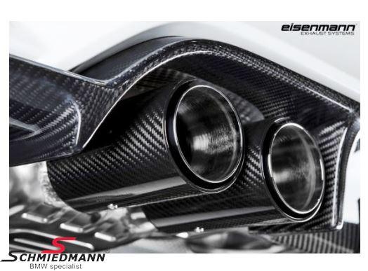 """4 rørs Eisenmann sportsudstødning cat-back med ventil 4XØ90MM lige afskåret rustfri stål med carbon """"double pipe"""" rørhaler"""