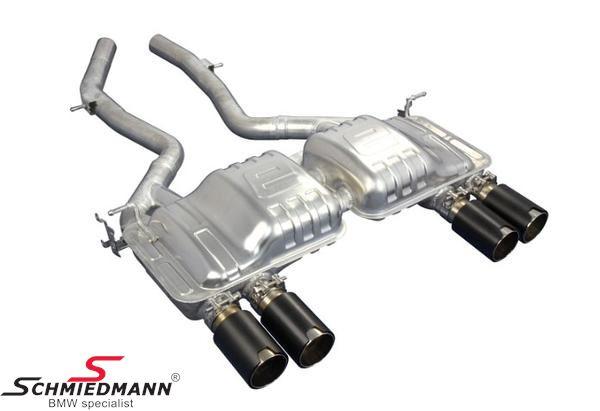 Eisenmann sportsbagpotte med sorte krom/børstet aluminium rørhaler (Lemans slant cut) 4XØ90MM