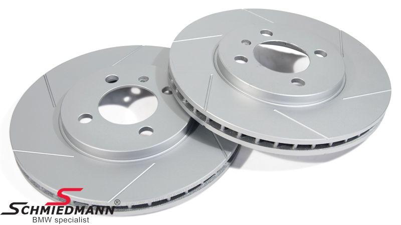 Sport-bremseskiver for sæt 260X22MM ventilerede med riller og S-coating, Schmiedmann