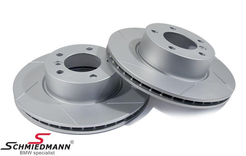 Sport-bremseskiver for sæt 300X24MM ventilerede med riller og S-coating, Schmiedmann