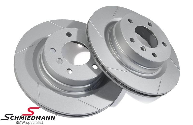 Sport-bremseskiver bag sæt 300X20MM ventilerede, med riller og S-coating, Schmiedmann