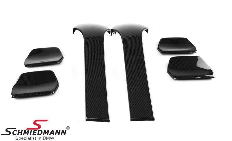Sædecover sæt 4 dele ægte sort dry carbon, monteres på bagsiden af forsæderne, samt bag på nakkestøtterne bag