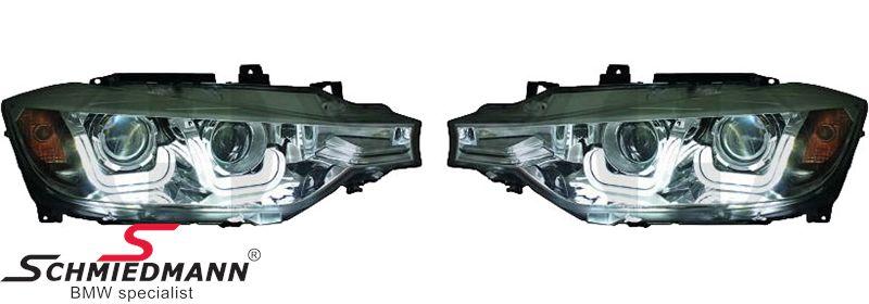 Klarglarglas forlygte-sæt -New Generation- med sort baggrund H7/H7, og LED kørelys