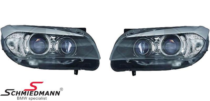 Klarglarglas forlygte-sæt DEPO med sort baggrund H7/H7/PY21W i angel-eyes facelift look med ringe + hvide blink