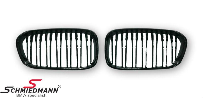 Nyrer sæt komplet højglans sorte med dobbelte grill-ripper