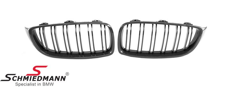 Kidney set silver carbon look with double grill spokes (not genuine carbon)