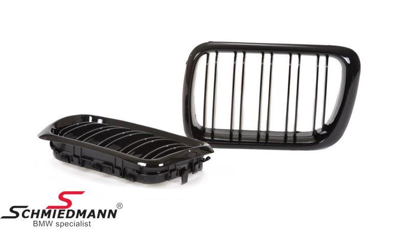 Nyrer sæt komplet højglans sorte med dobbelte grill-ripper, facelift 97´til ny model front