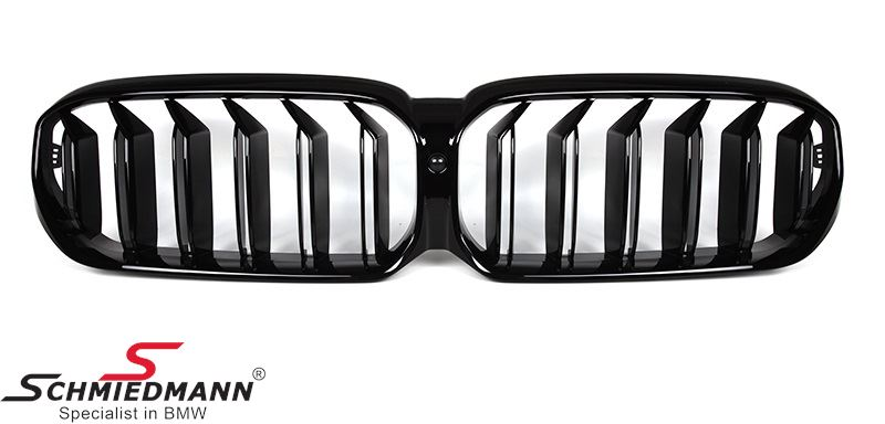 Kidney set highgloss black with double grille