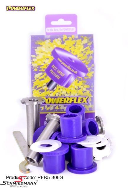 Powerflex racing bagsvingarms-bøsninger, med just. mulighed af camber + caster +/- 1 grad