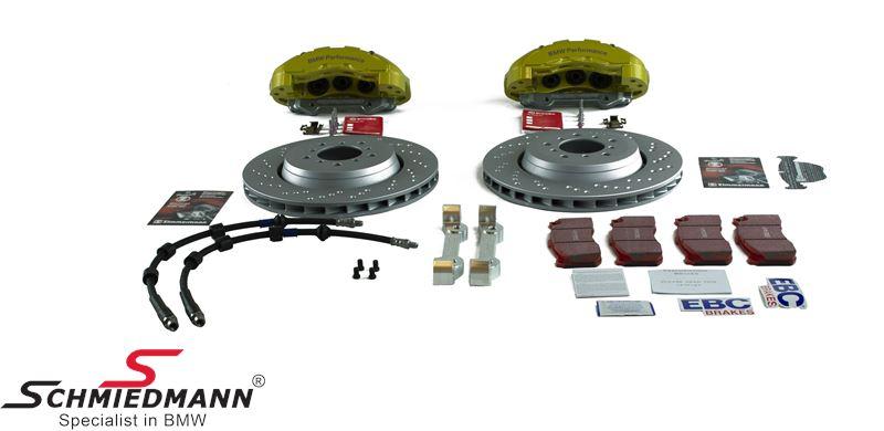 Schmiedmann -S-Tech.- racerbremse-sæt for 345X28MM 6 stemplede gule kalibre