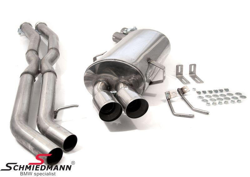 Schmiedmann rustfri-stål sportsbagpotte 2XØ76MM skarp (ikke rullede ender) (udskiftelig rørhale) inklusiv X-rør
