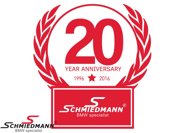 Schmiedmann sticker rød -20 YEAR ANNIVERSARY- højde 80MM