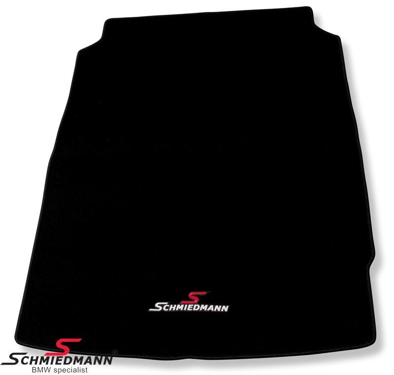 Bagagerumsmåtte sort stof m. Schmiedmann logo