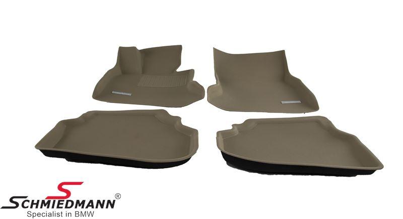 Bundmåtter, luksus udgave af gummimåtter, vandtæt kunststof med høje kanter og SI-antiskrid-system (de bliver liggende hvor de skal være) for/bag original Schmiedmann -SI3D- beige