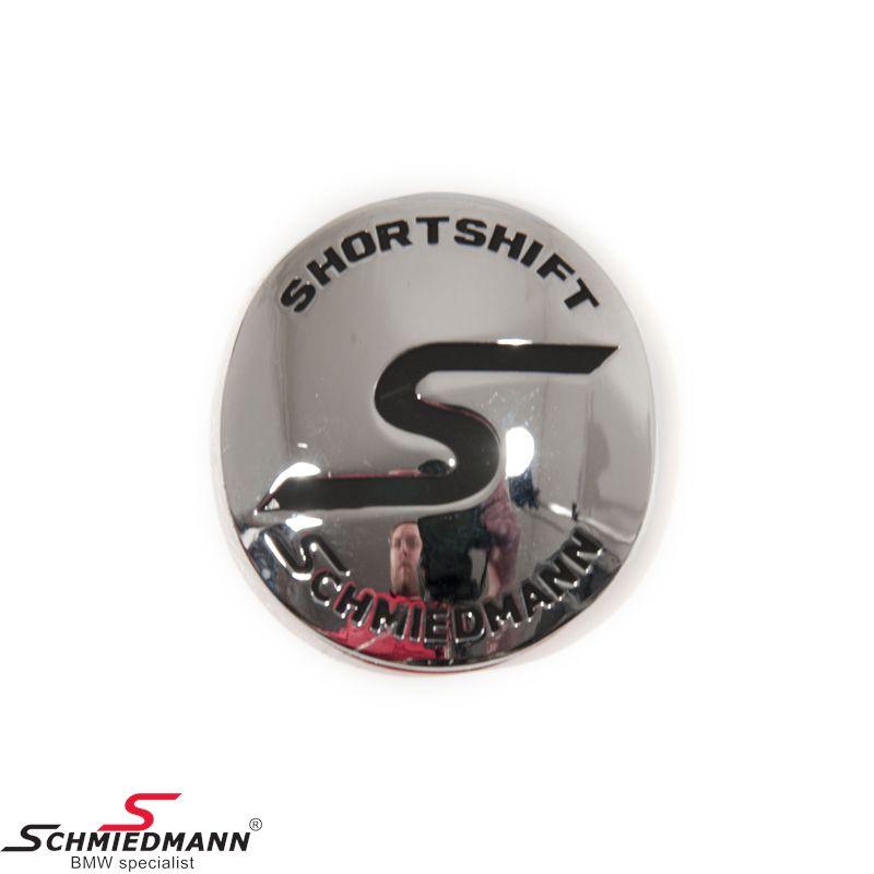 Schmiedmann emblem gearknop oval m. klæbepude -S- -SHORTSHIFT- krom