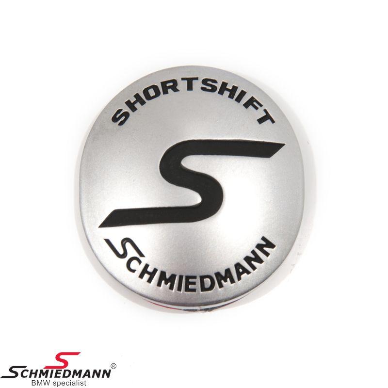 Schmiedmann emblem gearknop oval m. klæbepude -S- -SHORTSHIFT- matkrom