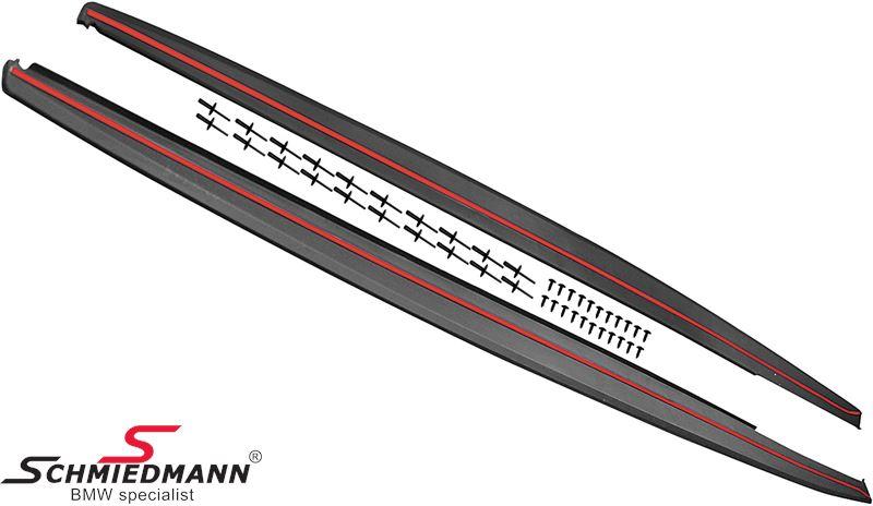 Sideskørte-extention-sæt mat sort -EVO-X-, monteres under de originale sideskørter