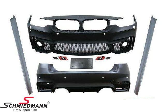 Spoiler-sæt -Motorsport III- frontspoiler inklusiv sideskørter+hækskørte (uden tågelygter, hvis ikke du har M-Tech. tågelygter skal du tilkøbe tågelygter varenr. 1217388)
